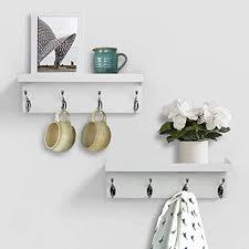 ahdecor wandregal mit 4 haken aus mdf holz handtuchhalter modern deko lagerregal für schlafzimmer küche bad wohnzimmer büro hxbxt 38 x 13 x10 cm