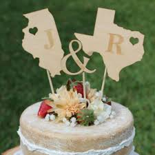 Wedding Pros Rustic Wooden States Cake Topper