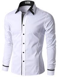 doublju men u0027s check trimmed long sleeve dress shirt kmtstl0184