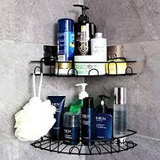 laimew duschkorb mit haken ohne bohren badezimmer regal organizer küchenkorb regal 2 stück schwarz