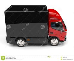 Red Box Truck With Black Trailer - Top Down Side View Stock ...