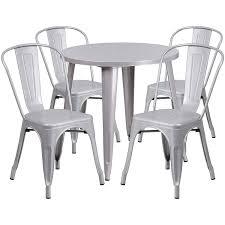Amazon.com - Flash Furniture 30'' Round Silver Metal Indoor-Outdoor ... Home Source Donna Silver Metal Ding Table Grey Na Fniture Nice Chair Room Qarmazi White And Gray Set Of Eight Vintage Rams Head Angloindian Embossed Chairs Ausgezeichnet Industrial Wood Design Hefner Silver 5 Piece Ding Set 100 To Complete Flash 315 X 63 Rectangular Inoutdoor With 4 Stack Polk In Brushed Rustic Pine Seat 3pcs Black Metal Details About 2pcs Distressed 11922 Indian Hub Cosmo Silver Ding Table Chairs Thepizzaringcom