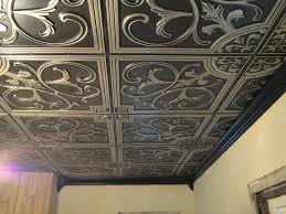 decor ceiling design with 2x2 ceiling tiles in antique copper for