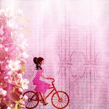 Click To See Printable Version Of Pink Scrapbook Paper Design With A Girl On Bycicle And