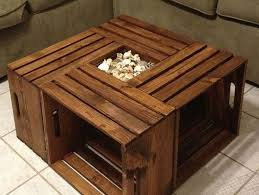 Rustic Square Crate Style Wood Like Coffee Table