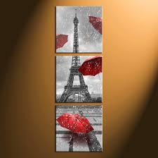 Home Decor 3 Piece Wall Art Umbrella Panel Eiffel Tower