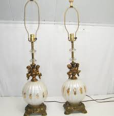 Frederick Cooper Porcelain Table Lamps by Antique Vintage Mid Century Pair White Globe Cherub Gold Angel