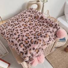 leopard print decke dehair angora decke für sofa schlafzimmer werfen herbst winter weiche baby stoff schlaf decke