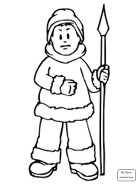 Coloring Pages For Kids Cute Inuit Boy Eskimo Countries Cultures