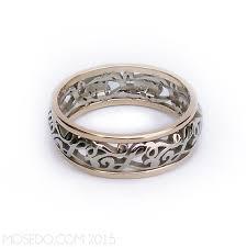 CUSTOM Initials Filigree Pierced Scroll Wedding Ring Band With