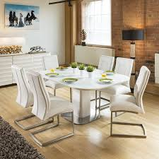 100 White Gloss Extending Dining Table And Chairs Small Oak