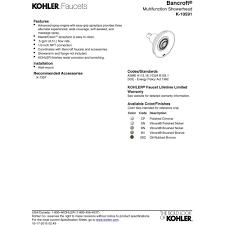 Kohler Bancroft Faucet Polished Nickel by Kohler K 10591 2bz Bancroft Oil Rubbed Bronze Shower Heads Tub