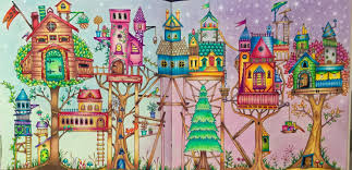 Treehouses From Enchanted Forest Coloring Book