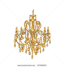White Isolated Golden Chandelier Hand Drawn Colorful Vector Illustration