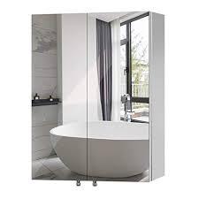 qucover spiegelschrank bad badezimmerspiegelschrank wandschrank aus edelstahl hängeschrank breite 60cm höhe 67cm badmöbel zweitürig mit 3 verstellbare
