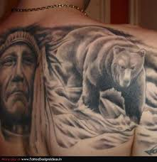 Unique Mother Teresa And Bear Tattoo On Back