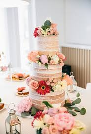 Three Layered Naked Floral Wedding Cakes For Rustic Ideas