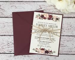 Rustic Burgundy Invitation Boho Chic Marsala Wedding Floral