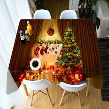 Customize 3D Tablecloth Christmas Tree Theme Pattern Table Cloth