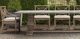 Restoration Hardware Teak Outdoor Furniture Trestle Weathered Concrete Collection