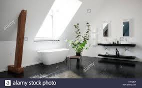moderne stilvolle schwarz weiß dachgeschoss bad mit