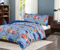 Blue Red Fire Truck & Police Cars Bedding Twin Or Full Comforter Set ...