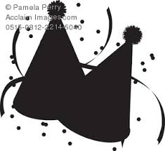 Clip Art Illustration of Party Hats Silhouette