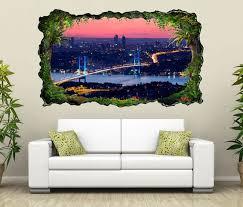3d wandtattoo skyline istanbul brücke stadt türkei selbstklebend wandbild wandsticker wohnzimmer wand aufkleber 11o967