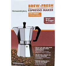DINY Home Style By Wees 9 Cup Italian Expresso Coffee Maker For Use On Gas Electric And Ceramic Cooktops