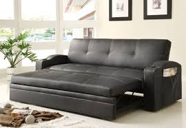 Furniture Black Leather Convertible Sofa Bed For Living Room