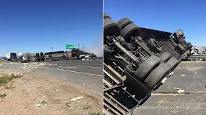 Semi-truck Crash Shuts Down Southbound 215 Freeway In Riverside ...