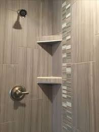 custom tiled shower with 12x24 satiated tile run 1 3 staggered
