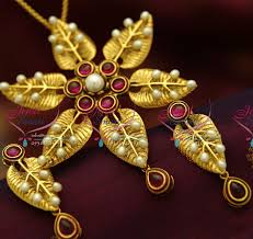 PS1830 Exclusive Antique Gold Leaf Design Handmade Real Pearl
