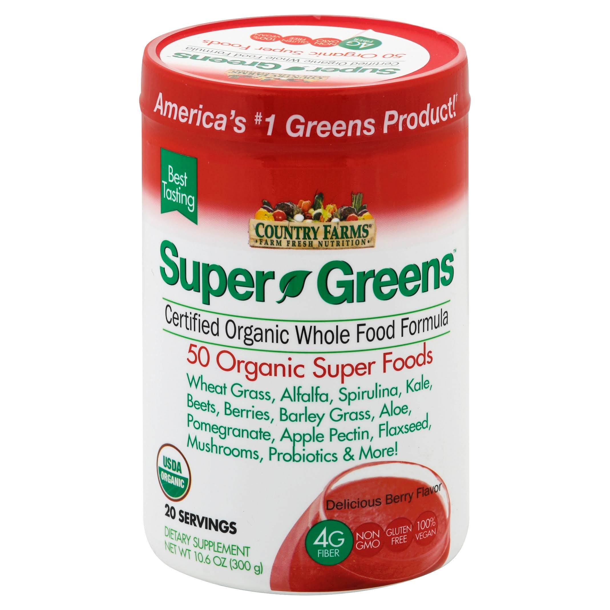 Country Farms Super Green Drink Dietary Supplement - Berry Flavor, 9.88oz