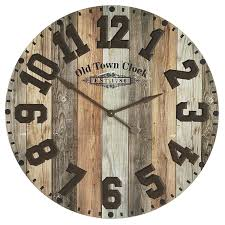 Oversize Industrial Wood Iron Wall Clock Pier 1 Imports Metal With