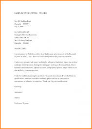 Cover Letter For Bank Teller Position No Experience