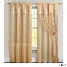 Lace Curtains Panels With Attached Valance by Vcny Agnes Curtain Panel With Attached Double Valance U0026 Backing