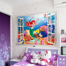The Little Mermaid 3D Wall Sticker DIY Cartoon Frame Window Wallpaper Poster Art Decals Stickers For Kids Rooms Home Decor