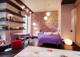 Teenage Girls Bedroom Butterfly Wall Decor Theme Ideas Blue Paint Idea Iron Bed Purple Blanket
