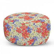 abakuhaus pouf dekorative weiche fußstütze und reißverschlusshülle osmanisches wohn und schlafzimmer blumen blooming bunte blumen kaufen