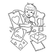 Child Making Card For Mother And Baby Kissing Coloring Picture