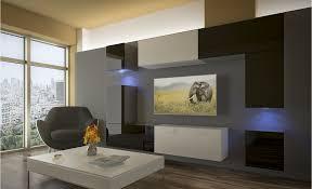 wohnzimmer set 8 einzelteile anbauwand wohnwand wohnwände schrankwand modernes wohnzimmer neu prag nx 5 schwarz weiß hochglanz