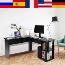 us 79 0 21 computer schreibtisch holz büro computer schreibtisch home gaming pc furnitur l form ecke studie computer tisch mit buch