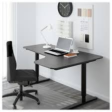 bekant corner desk right sit stand black brown black ikea