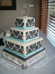 Black And White And Tiffany Blue Wedding Cake on Cake Central