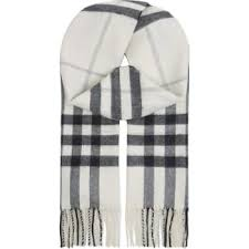 Burberry Giant Check Cashmere Scarf Womens Natural White Chk