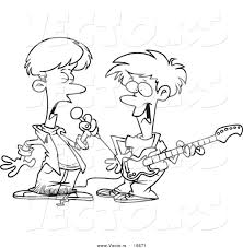 Vector Of A Cartoon Black And White Outline Design Two Boys Singing Playing