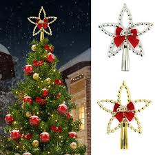 Silver Gold Five Pointed Star Christmas Tree Topper With Bowknot For Xmas