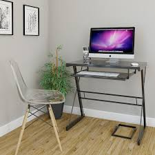 Small Glass And Metal Computer Desk by Ryan Rove Becker Metal And Glass Computer Desk In Silver