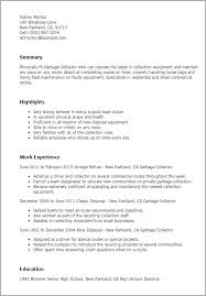 Garbage Collector Resume Template Best Design Tips